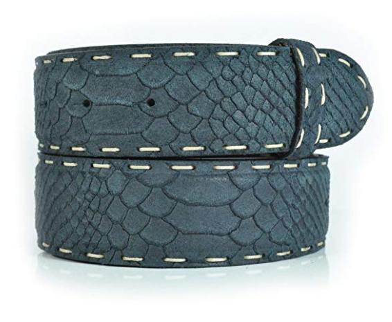 Cinturón sin hebilla estampado serpient costura artesana  98c6c497174d